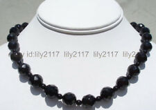 New 10/4mm Black Faceted /Round Agate Beads Necklace 18''