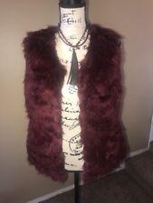 Rue 21 Women Faux Fur Waistcoat Sleeveless Outwear Vest Burgundy Sz S/M NWT