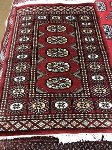 2x3 Red Rug bokhara Handknotted Woolpile