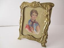 ART NOUVEAU STYLE BRASS PICTURE FRAME WITH DECO PICTURE OF A LADY