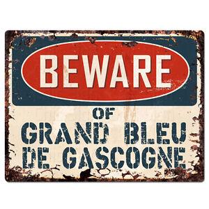 PPDG0185 Beware of GRAND BLEU DE GASCOGNE Plate Rustic TIN Chic Decor Sign