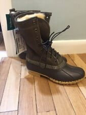 """LL Bean Shearling Lined Tumbled Leather Olive  10"""" Boots Women's 6"""
