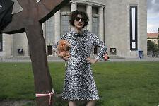 top Lady Damen Kleid leo 80er Leopard schwarz weiß True VINTAGE 80s women dress