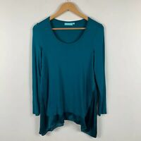 Blue illusion Womens Top Size XS Teal Blue Long Sleeve Gorgeous Design