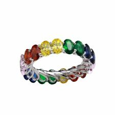 ETERNITY RING W/ MULTI-COLOR GEMSTONES / 925 STERLING SILVER / SZ 5-9