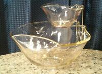 Vintage Anchor Hocking Festive Holiday Glass Chip and Dip Bowl Golden Hugh