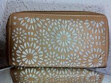 Geldtasche, Clutch, beige, Kunstleder mit Glitzereinsätzen, Chiara Ambra