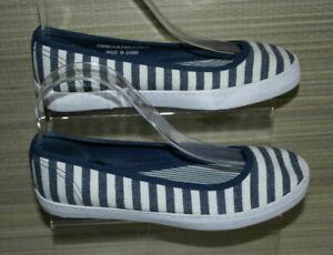 NEXT WOMEN BLUE STRIPE TEXTILE SLIP ON FLAT SHOES Size:3.5/36 (WS47)