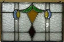 """New ListingOld English Leaded Stained Glass Window Unframed w Hooks Abstract 19.25"""" x 12.5"""""""
