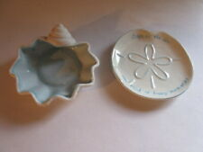 2 Small Shell Sand Dollar Shaped Dishes, Two's Company & Seaside Gourmet 5 X 5""