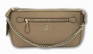 Coach Nolita 24 Stone Leather Silver Chain Wristlet Shoulder Clutch Bag 53078
