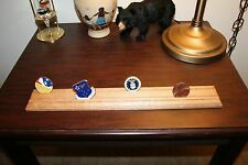 """18"""" Solid Oak Double Row Challenge Coin Display Rack Holder"""