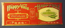 Old Vintage 1920's HAPPY-VALE - Peas - Can LABEL - Emery Food Co. Chicago Ill.