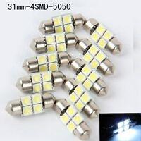 4SMD 31mm 10X 5050 Car RV Interior Festoon Dome White LED Light Bulbs Lamp DC12V