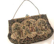 "VINTAGE Antique Very Fine Tapestry Evening Bag Clutch   4.5 ""x 7""  Antique Clasp"