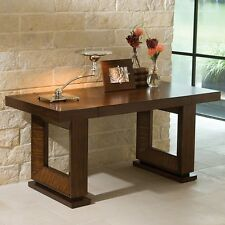 "60"" Long  Writing Desk Hardwood Zebra Wood Veneer Hand Rubbed Dark Walnut Stain"
