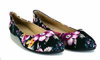 WOMENS LADIES BALLERINA PUMPS SIZE UK 3,4,5,6,7 & 8 NEW BLACK FLOWER FLATS SHOE