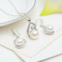 Bridal Wedding Jewelry Set Silver Pearl Rhinestone Necklace & Earrings Party UP