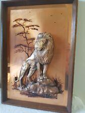 LION Picture Copper Vintage 3D Wall Art Hanging Wildlife Framed