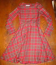 AmyFashion- Robe écossaise manches longues ajustée et évasée - tartan rouge- S
