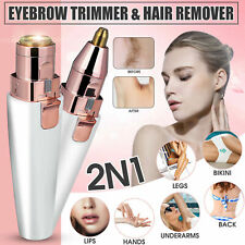 2 IN 1 Electric Face Eyebrow Hair Remover Painless Trimmer Razor Facial Epilator