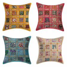 Indian Cotton Pillow Case Cover Cotton Embroidered Throw Cushion Set OF 4 PCS