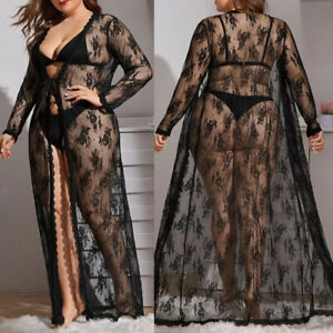 Plus Size Spitze Kimono Schwarz Transparent Morgenmantel Negligee Dessous XL-5XL