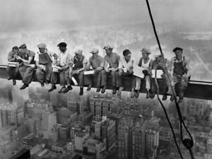 LARGE Lunch atop a Skyscraper Poster Print, Iconic 1932 Photo of Steelworkers
