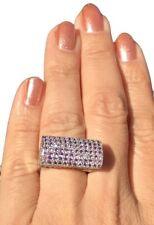 HUGE 18K White Gold Pave-set Amethyst Diamond Designer Saddle Cocktail Ring