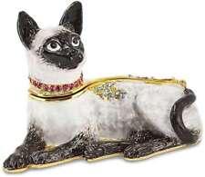 Bejeweled Kristall Emaillierte Siamesische Katze Schmuckkästchen
