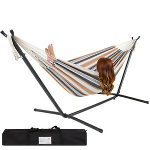 Double Hammock Set Steel Stand Outdoor Camping Hanging Swing Bed Gray Stripe New