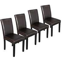 Set of 4 Urban Leather Dining Parson Chairs With Solid Wood Espresso Finish