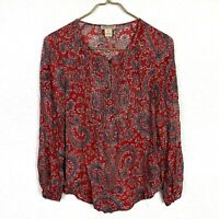 Lucky Brand Top S Boho Red Blue Paisley Print Pleats Tunic Blouse
