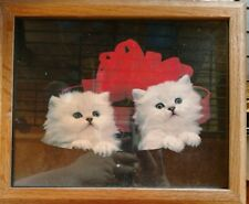 """Persian Kittens w Red Bow Photo Poster in Oak Colored Wood Frame 8"""" x 10"""""""