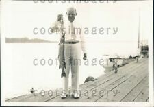 1935 Fisherman With Catch of Great Northern Pike Fish Press Photo
