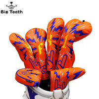 Golf Orange Wood Head Cover Hippop Set Driver Fairway Hybrid Headcover Rock YOU