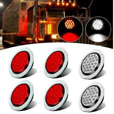 "6x Red&white 4"" 24 LED Stop Turn Tail Brake Round Light for Kenworth Peterbilt"