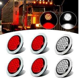 """6x Red+White 4"""" 24 LED Chrome Round Stop Turn Tail Backup Reverse Light Lamp 12V"""