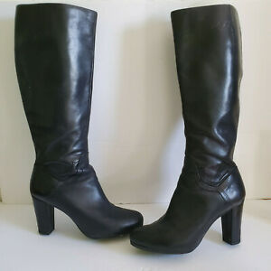 Geox Respira Black Leather Below Knee Chunky Heel Boots SZ 41-10.5