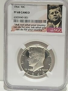 1964 Kennedy Half Dollar NGC PF68 Cameo-Price Guide $135 - Combined Ship