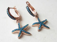 Seastar Unique Turkish Rose Gold Plated Turquoise 925K Sterling Silver Earrings