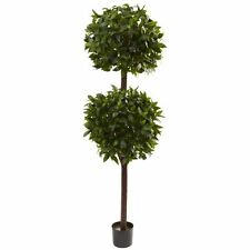 Nearly Natural 5398 Sweet Bay Double Ball Topiary- 6-Feet- Green