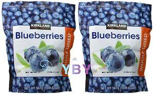 2 Packs Kirkland Signature Whole Dried Blueberries 20 oz Each Pack