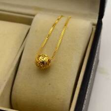 "24K Yellow Gold Filled Pendant Necklace Carved Ball 18""chain Link GF Jewelry New"