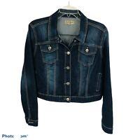 EARL JEANS Women's Blue Jean Crop Jacket Sz Large Distressed Button Front Pocket