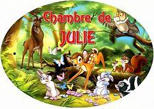 plaque de porte chambre bambi personnalisée inscription au choix réf 245