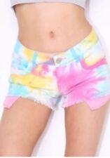 Ladies Summer Cotton Dyed Short Stretch Denim Hot Pants Size 6 8 10 12 14 16