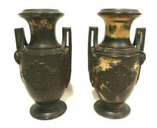 "Antique Pair of 7"" Distressed Bronze Look 2 Handle Ceramic Roman Crest Urns"