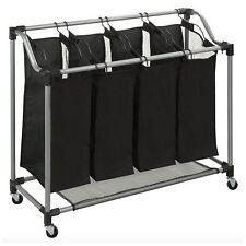 Quad 4 Bag Basket Laundry Sorter Hamper Bin Storage Organizer Rolling Cart New