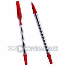 100x WB stylostik Biros Bolígrafos rojo. Tinta Roja Pluma acanalado agarre. Delgado.